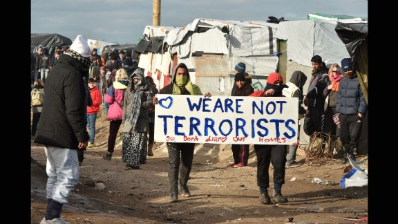 Migrants demonstrate on Monday, February 29.