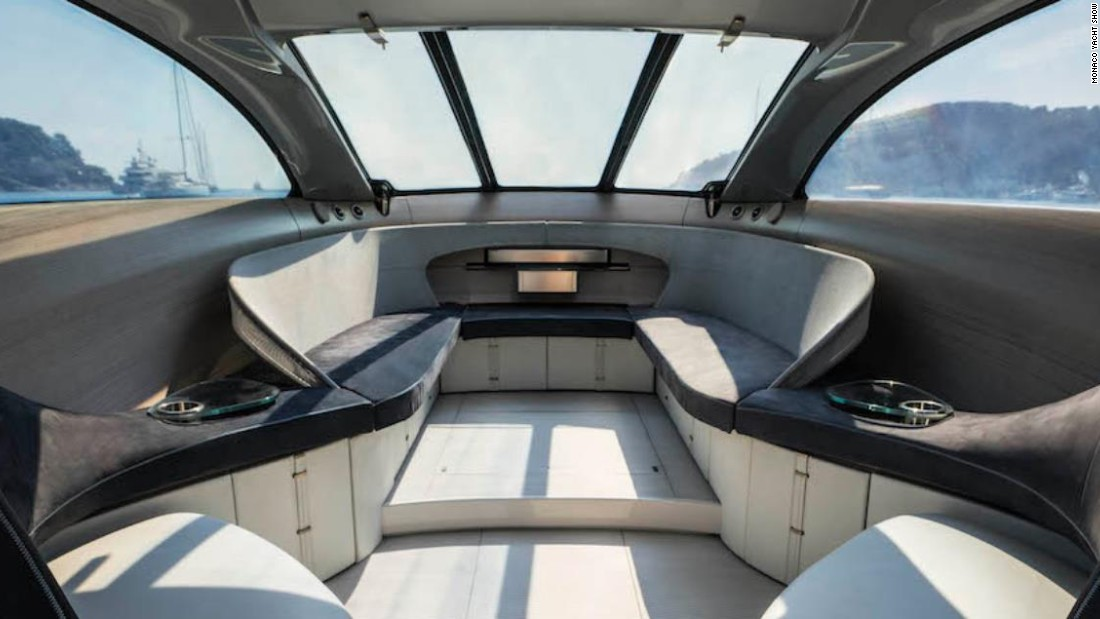 "The 14.17-meter motor yacht incorporates new luxury design and materials to provide unique aesthetic appeal. ""The yacht ditches the conventional compartmentalized layout and uses space and light to spectacular new effect,"" Mercedes says of its design."