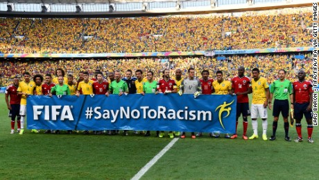 "FIFA's ""Say no to racism"" campaign slogan features in the 2014 World Cup Quarter Final clash between Brazil and Colombia."
