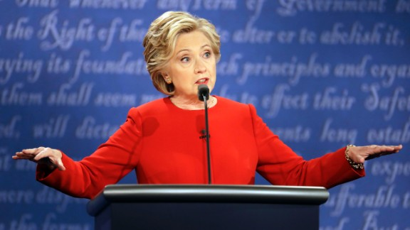 Clinton answers a question during the debate.