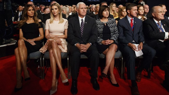 From left, in the front row, are Melania Trump; Trump's daughter Ivanka Trump; Trump's running mate, Indiana Gov. Mike Pence; Pence's wife, Karen; retired U.S. Army Gen. Michael Flynn; and former New York Mayor Rudy Giuliani.