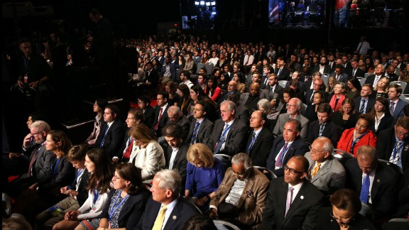 The crowd was urged to stay quiet throughout the debate, but there was occasional applause and laughs.