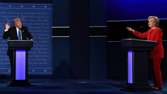 Trump and Clinton face off in the debate.