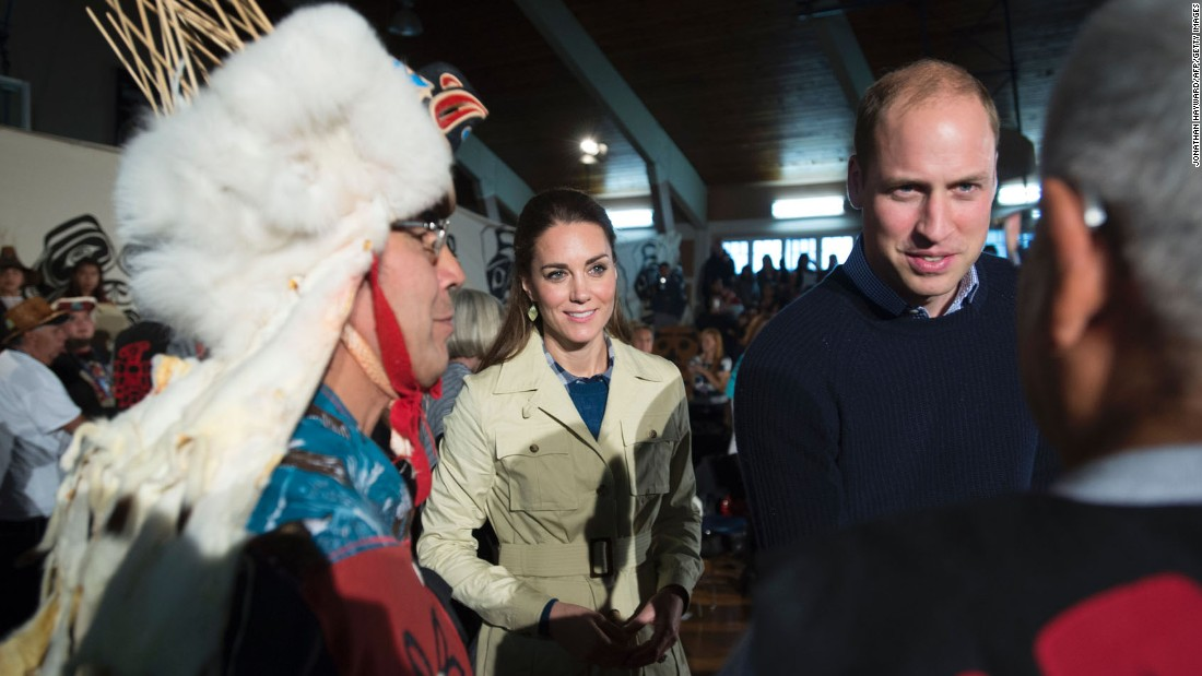 The royal couple greet native elders in Bella Bella, British Columbia, on Monday, September 26.