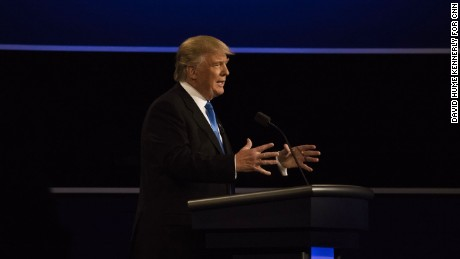 Donald Trump speaks at the first presidential debate on September 26, 2016, in Hempstead, New York.