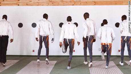 Senegal's incarated youths begin warm up practice before fencing sessions start.