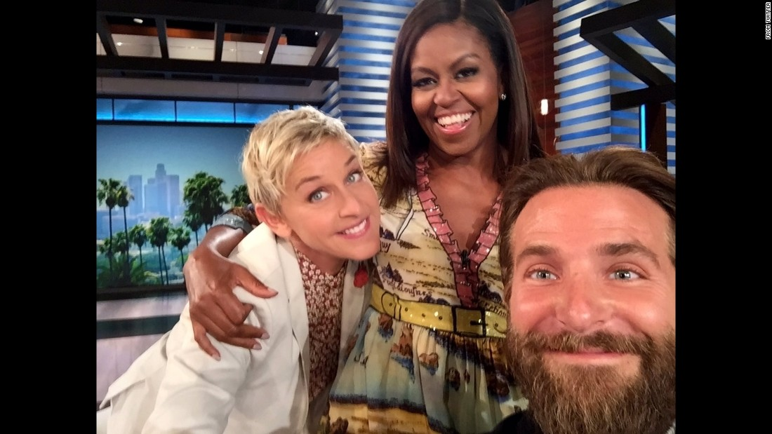 """It's gonna be a good day,"" <a href=""https://twitter.com/TheEllenShow/status/775741931812827136"" target=""_blank"">tweeted talk-show host Ellen DeGeneres,</a> left, as she posted a selfie with first lady Michelle Obama and actor Bradley Cooper on Tuesday, September 13."