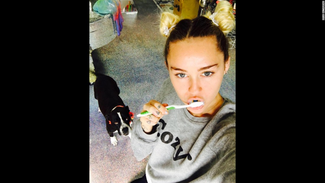 "Pop star Miley Cyrus brushes her teeth after <a href=""http://www.cnn.com/2016/08/19/entertainment/miley-cyrus-alicia-keys-the-voice/"" target=""_blank"">her first episode on ""The Voice.""</a> ""Feelin good about Team Miley,"" <a href=""https://www.instagram.com/p/BKla8iQBqH9/"" target=""_blank"">the new judge said on Instagram</a> on Tuesday, September 20."