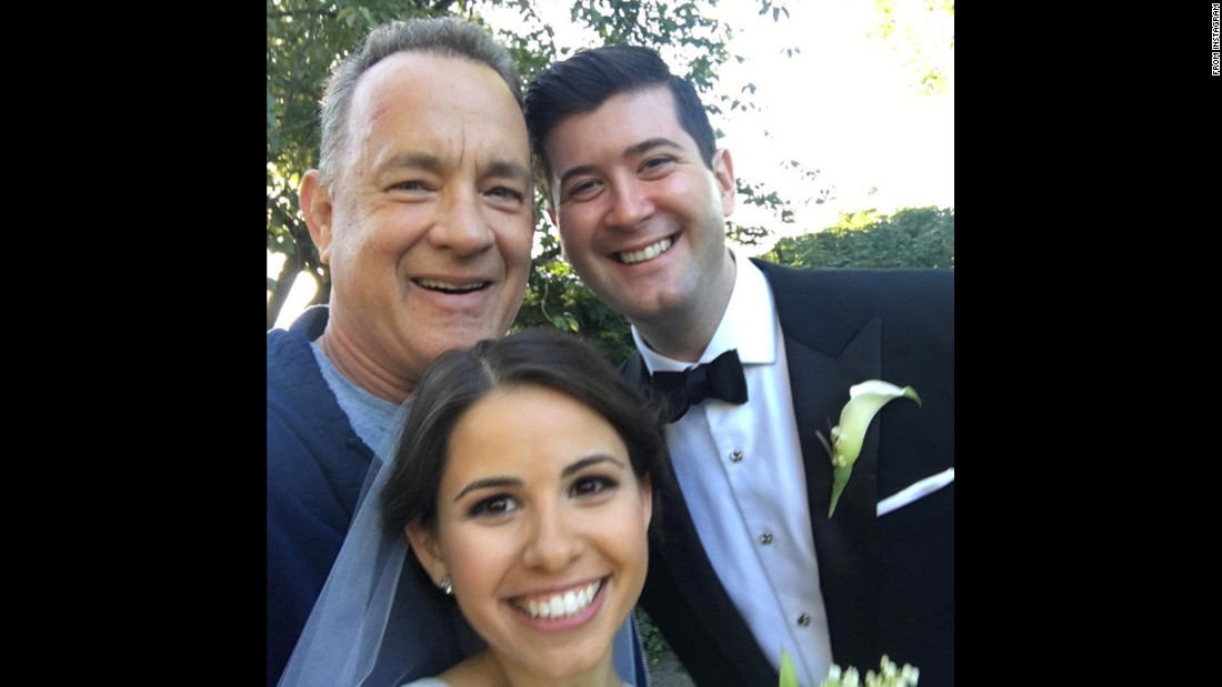 "Actor Tom Hanks was jogging in New York's Central Park when he <a href=""http://www.cnn.com/2016/09/27/entertainment/tom-hanks-wedding-crasher/"" target=""_blank"">stopped to join a couple's wedding photos</a> on Saturday, September 24. He then <a href=""https://www.instagram.com/p/BKwSD-vA20m/"" target=""_blank"">posted this photo</a> with the couple."