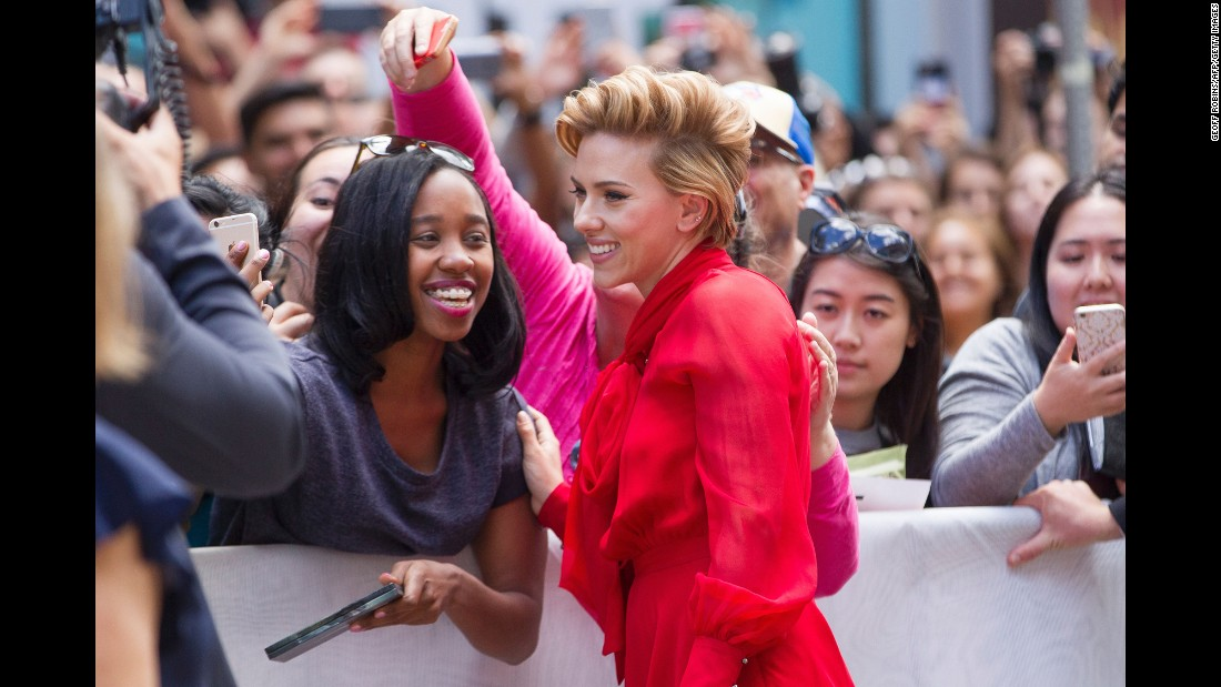 "Actress Scarlett Johansson poses for a selfie at the Toronto International Film Festival on Sunday, September 11. Johansson was attending the premiere of ""Sing,"" an animated movie she helped voice."