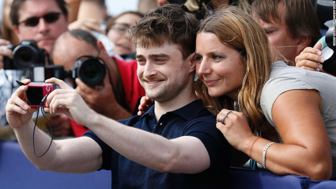 Actor Daniel Radcliffe takes a selfie at the Deauville American Film Festival in Deauville, France, on Saturday, September 10.