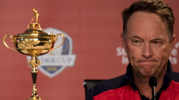 US Captain Davis Love III takes questions during the captain