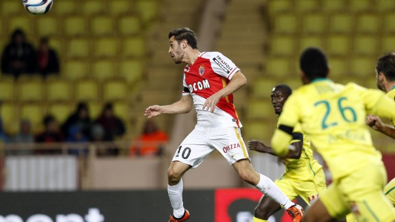 But despite its big-money signings, Monaco has struggled to draw in big crowds. Here, Monaco's Portuguese midfielder Bernardo Silva wins a header in front of a smattering of fans. Silva signed for Monaco from Benfica in 2014.
