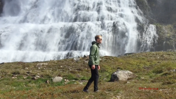 Not even a large waterfall could faze him