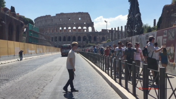 Travis doing MJ proud outside the Colosseum in Rome