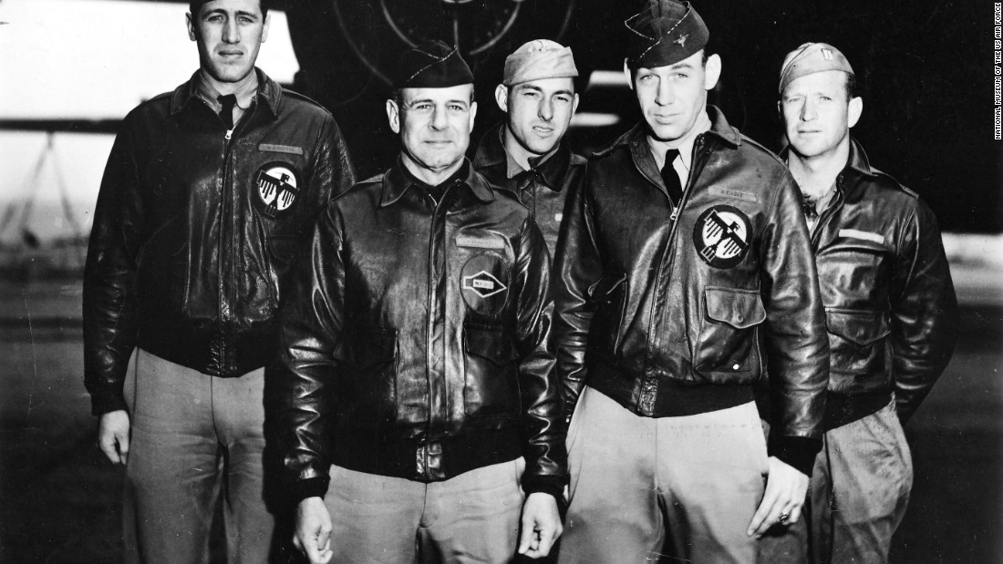 "The crew of the lead aircraft included (from left): navigator Lt. Henry ""Hank"" Potter, pilot Lt. Col. James ""Jimmy"" Doolittle, bombardier Staff Sgt. Fred Braemer, co-pilot Lt. Richard ""Dick"" Cole and engineer/gunner Staff Sgt. Paul Leonard."