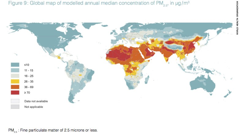 Most of the world breathes polluted air who says cnn a new map of annual levels of pm25 released by the world health gumiabroncs Gallery