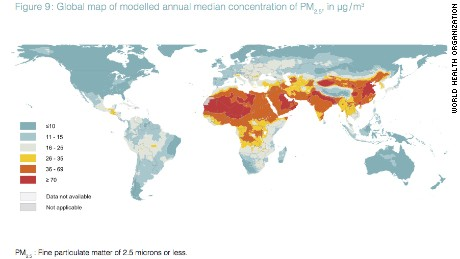 A new map of annual levels of PM2.5 found around the world, released by the World Health Organization.
