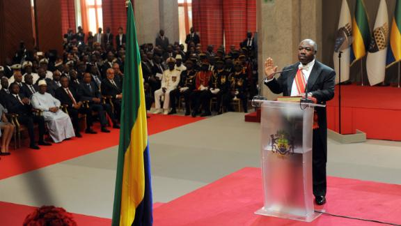 Gabon President Ali Bongo took his oath of office Tuesday at a ceremony in the capital, Libreville.