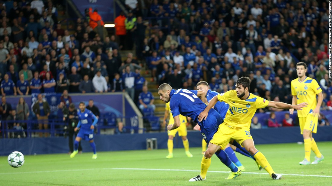 Islam Slimani scored the first ever Champions League goal at Leicester's King Power Stadium as the English side won 1-0 against Porto.