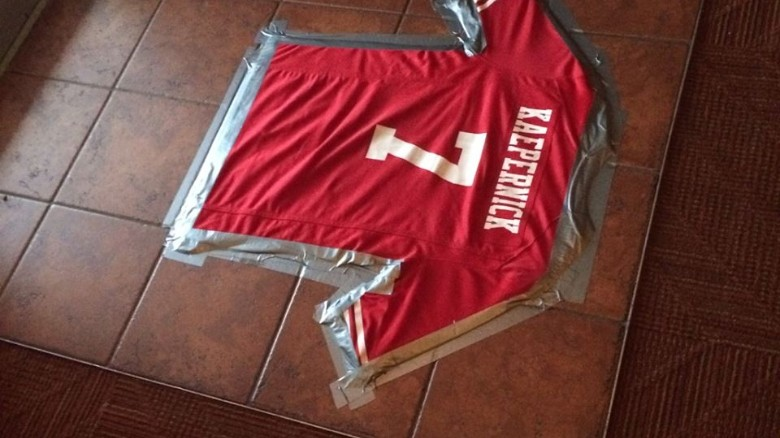 newest collection 4d0cf 5fd9e Colin Kaepernick jersey turned into a floor mat