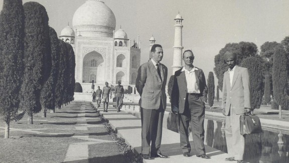 Peres is seen here at left with Moshe Dayan, center, an Israeli military leader and politician, at the Taj Mahal in India, circa 1950. Peres entered politics in 1959 as a member of the left-wing Mapai party, a precursor to the modern Labor party. His political career lasted more than half a century, and he held virtually every position in Israel