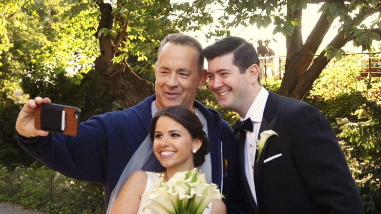 Tom Hanks crashes a wedding photo shoot
