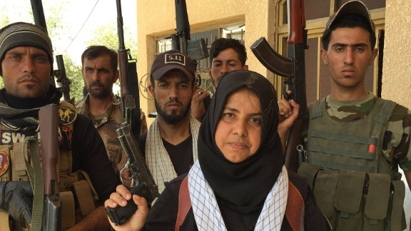 These are CNN photos to accompany a Ben Wedeman write on a woman called Wahida Mohamed, a self-described housewife who leads a unit that fights ISIS. She says she has beheaded ISIS fighters, cooked their heads and burned their bodies. Shirqat, Iraq. Sept. 27, 2016.