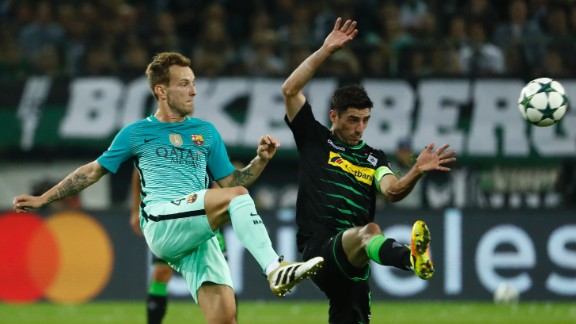 Barcelona was forced to come from behind to defeat Borussia Monchengladbach 2-1 in Germany in its latest Champions League tie.  The visiting side was without the injured Lionel Messi but was still too hot to handle.