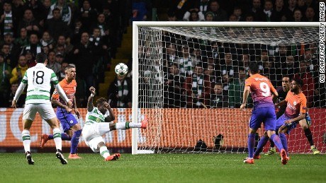 Dembele's overhead kick gave Celtic a 3-2 lead in a pulsating clash.