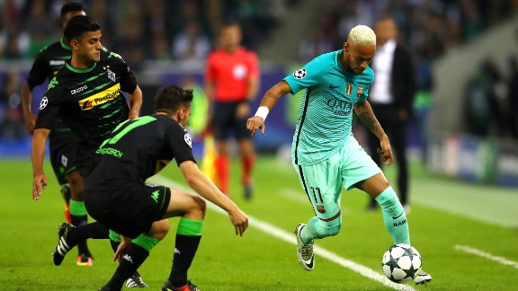 Barcelona hit back after the break with Neymar causing the Monchengladbach defense plenty of problems. Arda Turan struck an equalizer before Gerard Pique scored the winner.