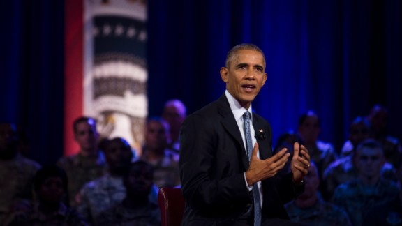 U.S. President Barack Obama speaks during a town-hall event in Fort Lee, Virginia, on Wednesday, September 28.