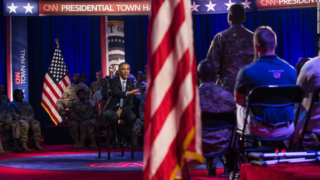 The White House said ahead of the town hall that Obama wanted to keep the event focus on troops and away from politics.