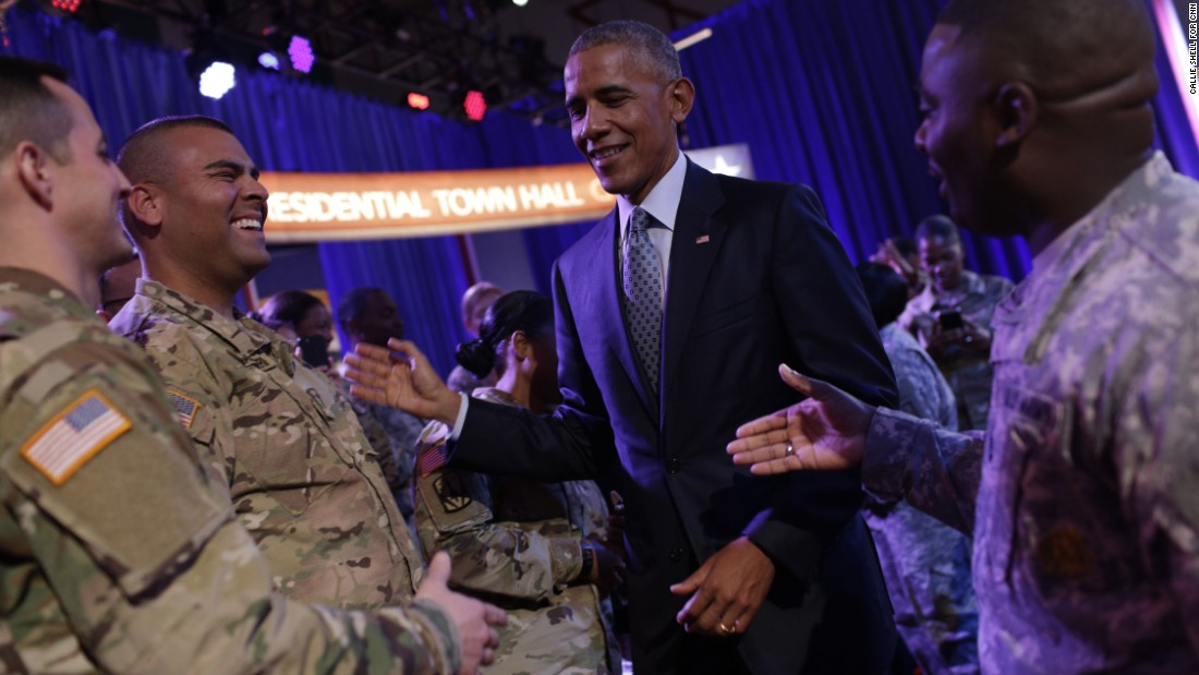 Obama meets with military members after the event.