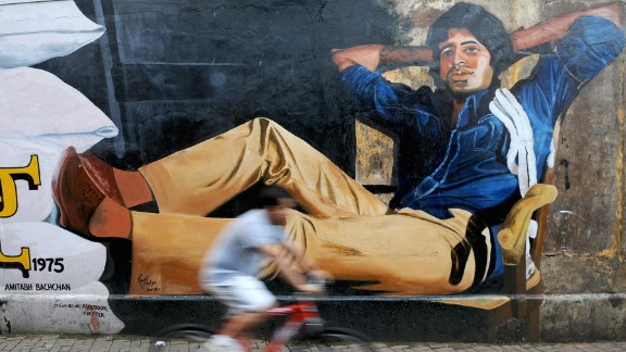 A mural of Amitabh Bachchan from his classic film