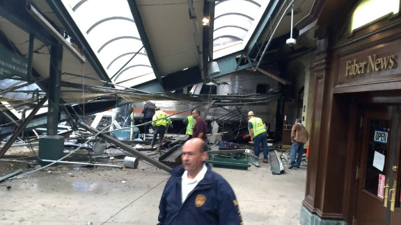 A section of roof lies on the platform after a New Jersey Transit train crashed at the Hoboken station on Thursday, September 29. One person was reported dead, and dozens of others were injured.