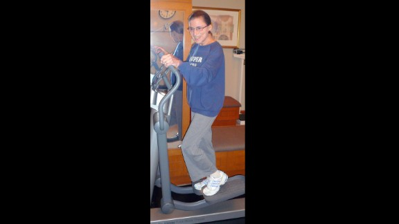 "Justice Ruth Bader Ginsburg works out on an elliptical during a training session at the Supreme Court, sporting her ""Super Diva"" sweatshirt on August 30, 2007."