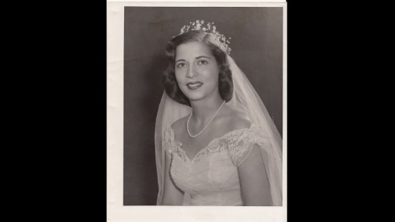 Professional bridal photograph of Ruth Bader taken in June 1954.