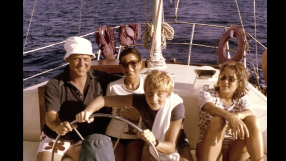 Ruth Bader Ginsburg, her husband, Martin Ginsburg, and their children, James and Jane, off the shore of St. Thomas in the Virgin Islands in December 1979.