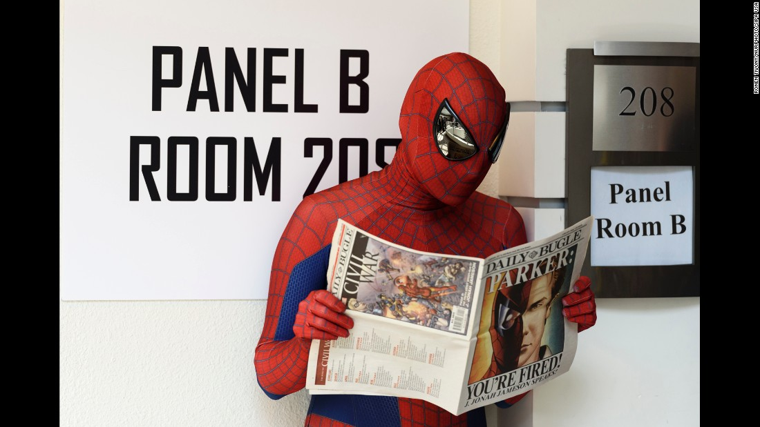 Hector Hernandez, wearing a Spider-Man costume, attends Nerdbot-Con in Pasadena, California, on Saturday, September 24.