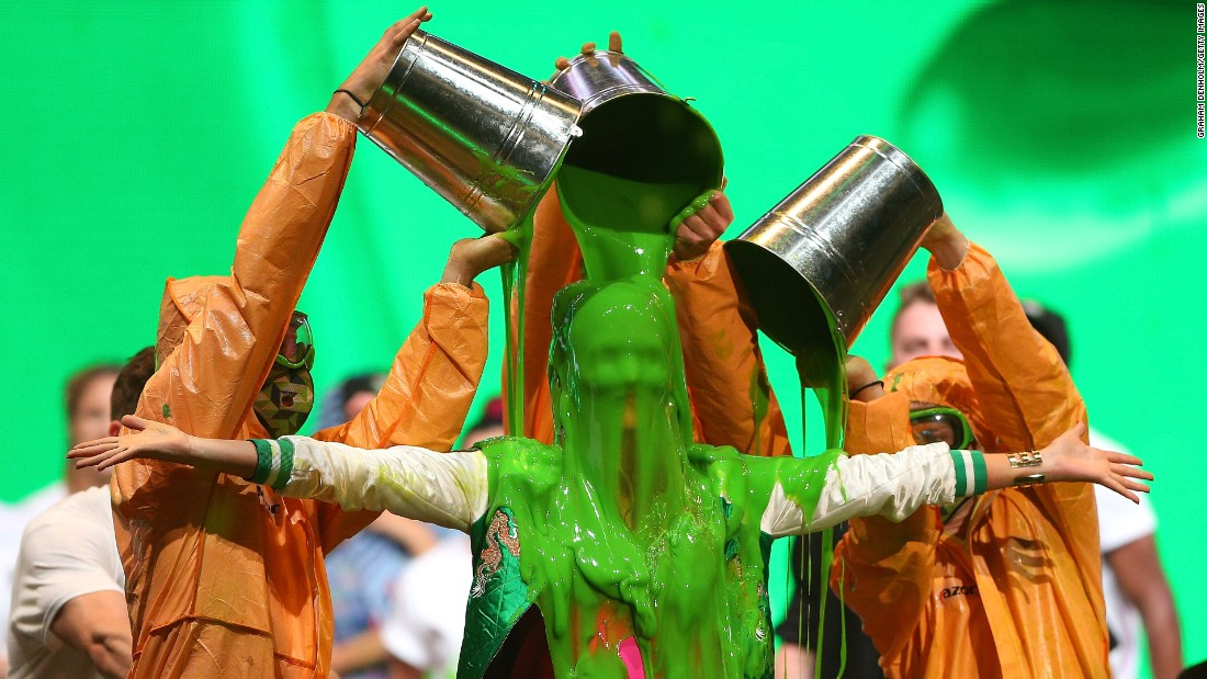 Singer Delta Goodrem is covered in slime during a Nickelodeon show in Melbourne on Sunday, September 25.