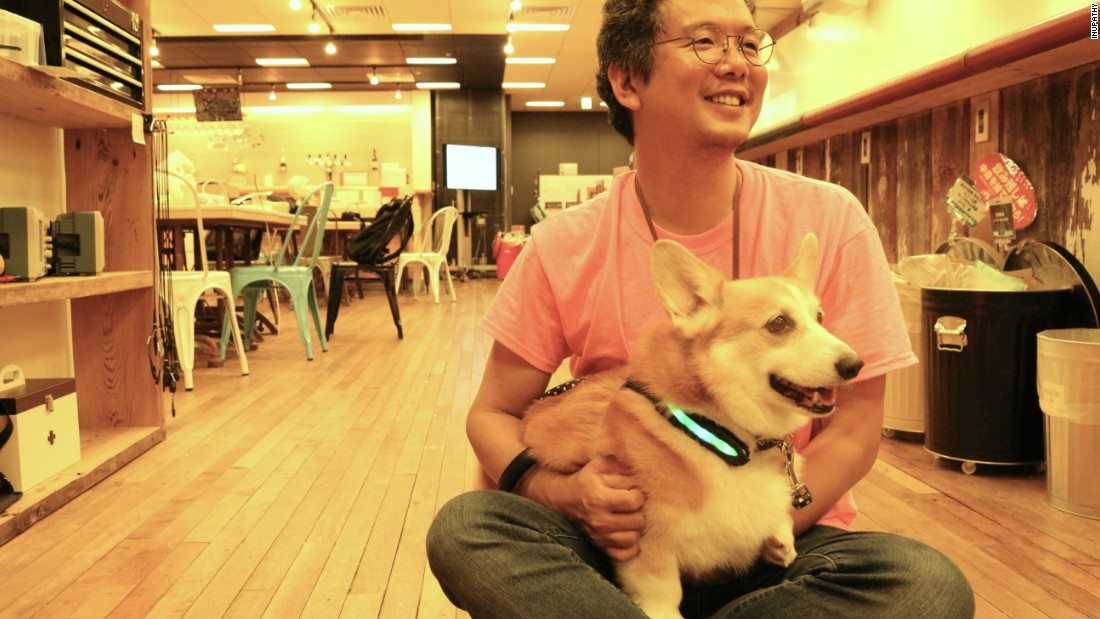 CEO Joji Yamaguchi was inspired by his Corgi, Akane, who was a nervous puppy. The biologist developed a system to monitor the dog's heart rate and track the dog's reactions to stimulus such as food, games, people and toys.
