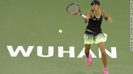 Zhang Shuai in action at the Wuhan Open, where she lost to Britain's Jo Konta.