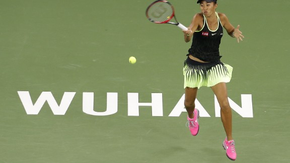 Zhang Shuai in action at the Wuhan Open, where she lost to Britain