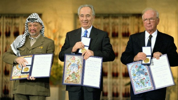Peres receiving the Nobel Peace Prize in 1994, alongside Yitzhak Rabin and Yasser Arafat.