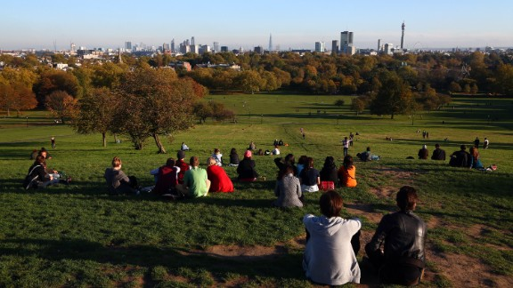 Primrose Hill offers a panoramic view of the London skyline