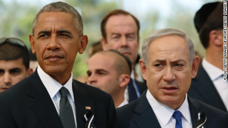 JERUSALEM, ISRAEL - SEPTEMBER 30:   U.S. President Barack Obama and Israeli Prime Minister Benjamin Netanyahu look onduring the funeral of Shimon Peres at Mount Herzl Cemetery on September 30, 2016 in Jerusalem, Israel. World leaders and dignitaries from 70 countries attended tthe state funeral of Israel's ninth president, Shimon Peres, in Jerusalem on Friday, after thousands of Israelis paid their last respects to the elder statesman who died on Wednesday. (Photo by Abir Sultan- Pool/Getty Images)
