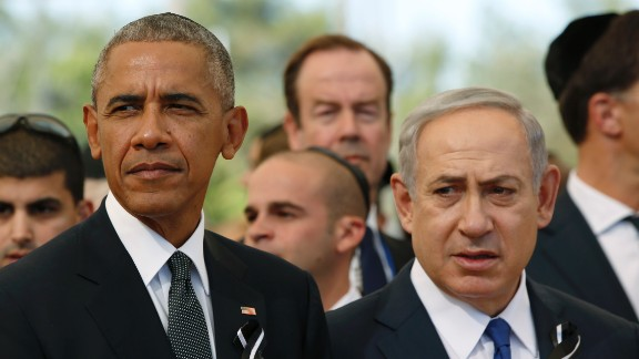 President Obama sat next to Israeli Prime Minister Benjamin Netanyahu during the ceremony.