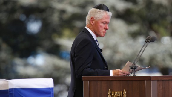 "Former U.S. President Bill Clinton spoke of his great friendship with Peres: ""He started off life as Israel"