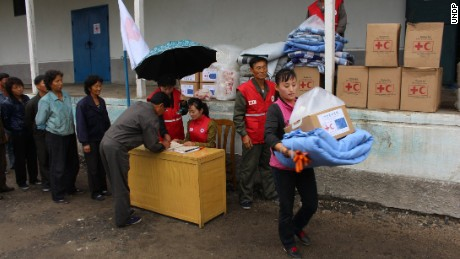Villagers affected by the flooding in North Korea's Hamgyong province. People are being helped by DPRK Red Cross, UN agencies and other international humanitarian organizations.